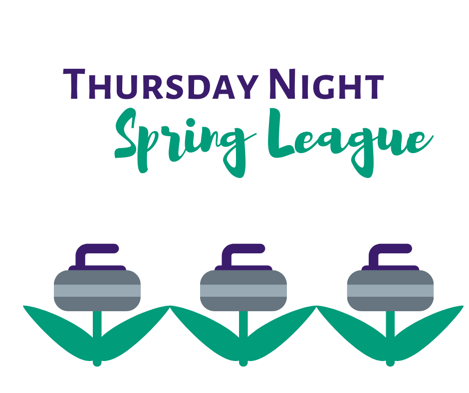 Thursday Night Spring League graphic--three tulips where the flowers have been replaced by curling stones